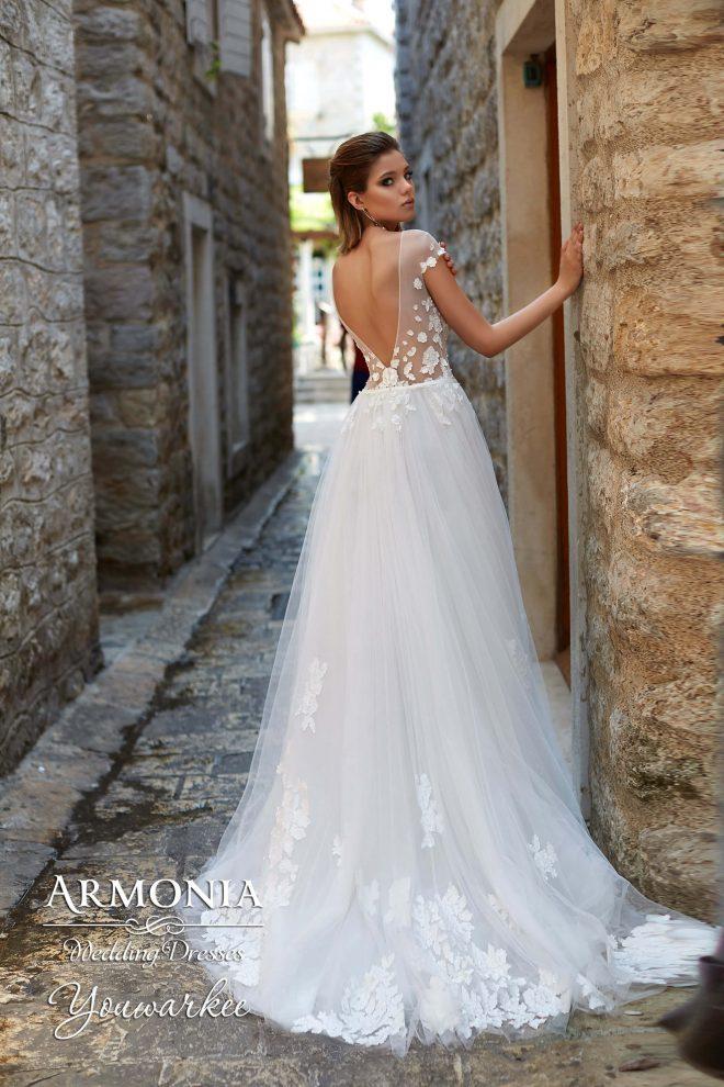 Свадебное платье А-силуэта годе Youwarkee